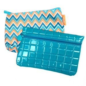 ~ 3 for $25 ~ 2 Makeup Bags Teal Chevron Stripe